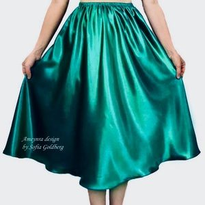 Teal Satin Skirt Mid-Calf New All Sizes available